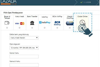 Cara Belanja di Lazada dengan Cicilan 0%  Kartu Kredit