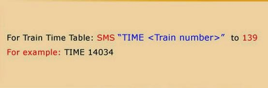 train timetable by sms to 139