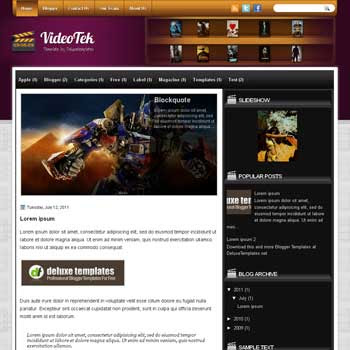 VideoTek blogger template. template blogspot magazine style. download template tech blogger template