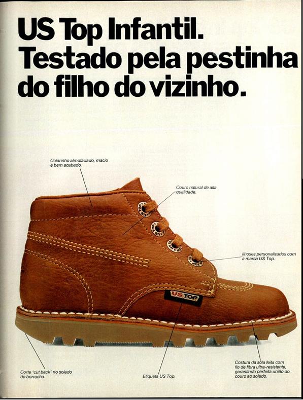 Campanha para promover a linha de calçados infantis da US Top no final dos anos 70