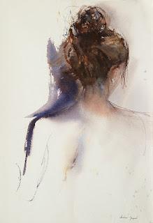 Aquarelle originale d'une femme avec un chignon, chevelure brune