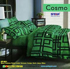 Sprei Custom Katun Lokal Dewasa Cosmo Garis Linen Hijau