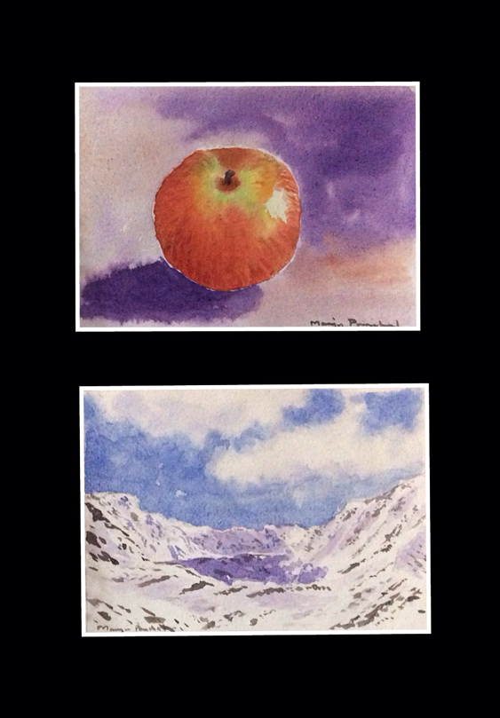 Mini water colour paintings of an apple and kunzum Pass by Manju Panchal