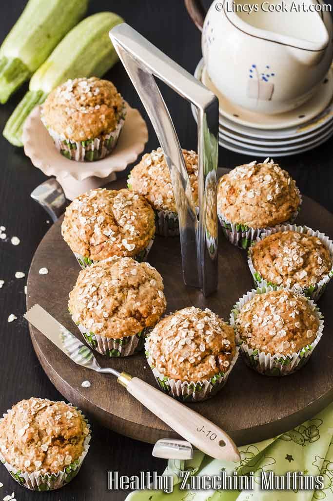 Healthy Zucchini Oatmeal Muffins recipe