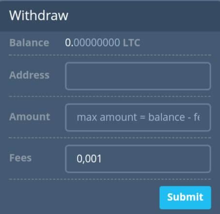 Kemudian scroll kebawah, isi alamat Litecoin dan jumlah Litecoin (minim 0,002 LTC) dan Biaya pengirimannya adalah 0,001.