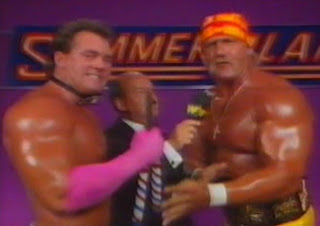 WWF / WWE Summerslam 1989 - Hulk Hogan and Brutus Beefcake cut a promo on Randy Savage and Zeus
