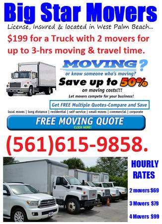 Big Star Moving - West Palm Beach Moving companies from $199