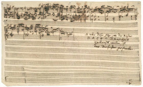 Final page of Contrapunctus XIV of Bach's The Art of Fugue