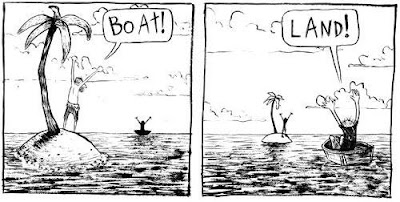 Comic Strip With a Guy on an Island and a Guy on a Boat