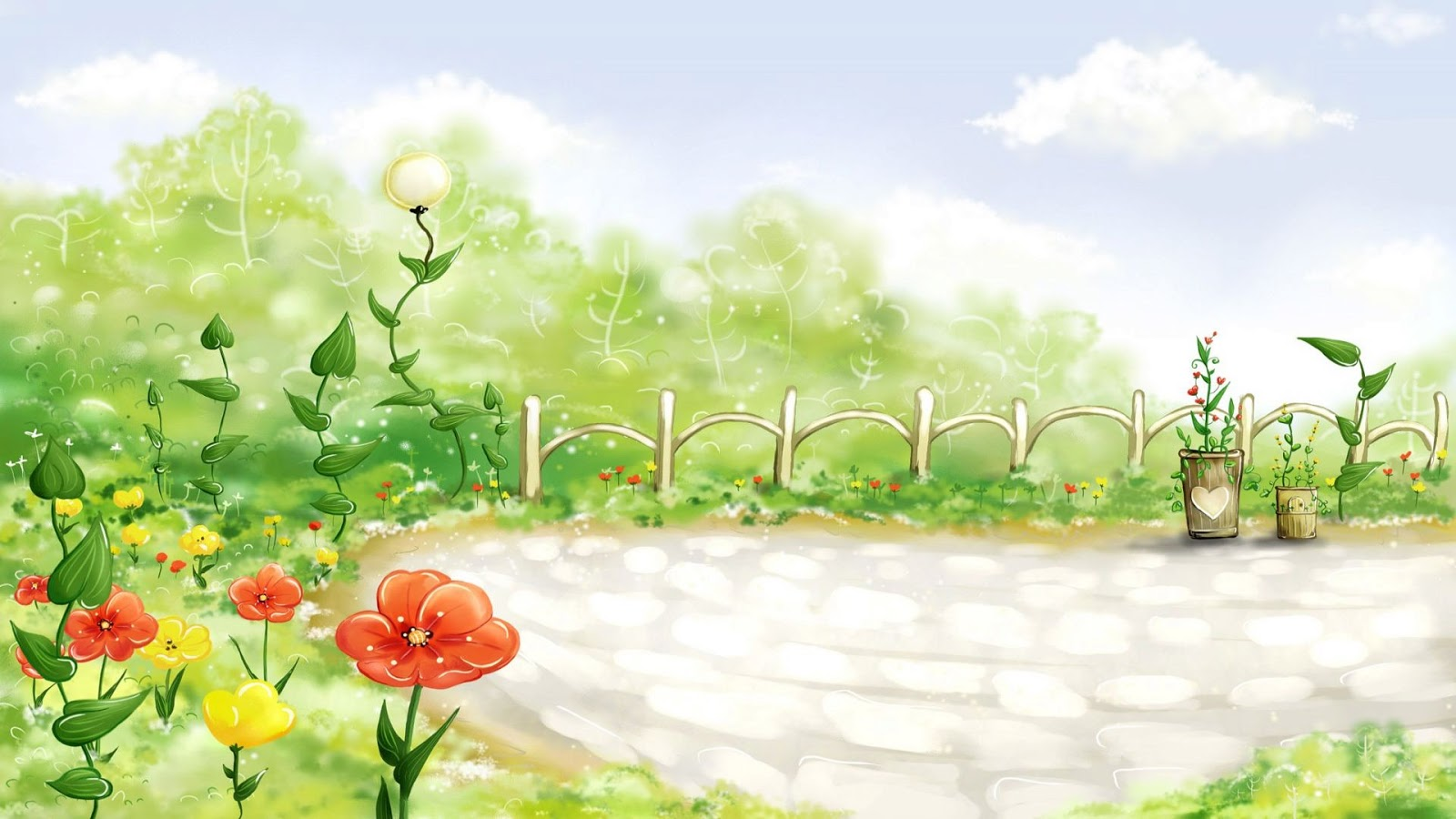 Cartoon Garden Wallpaper Free Desktop Screensavers Downloads Wallpapers And