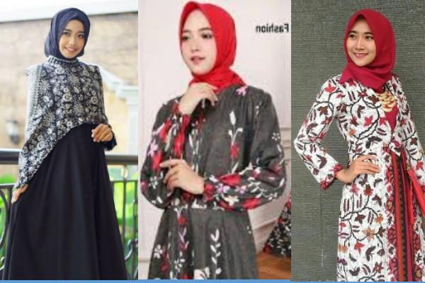 model baju gamis batik kombinasi kain polos 2018 terbaru