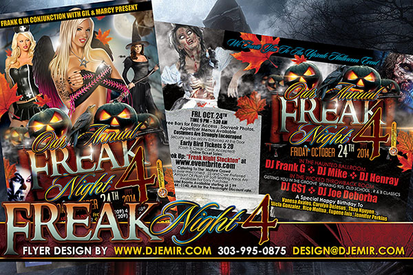 Freak Night 4 Annual Halloween Ball Flyer Design