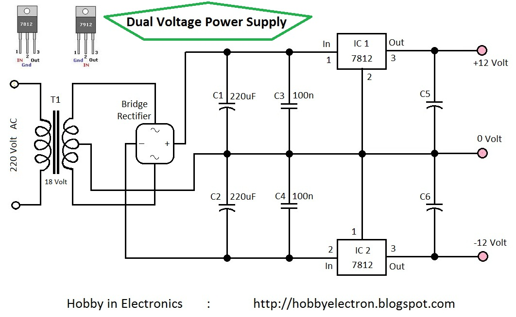 7812 voltage regulator circuit diagram