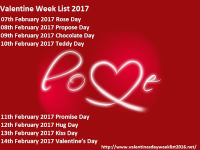 Valentines Week list 2017