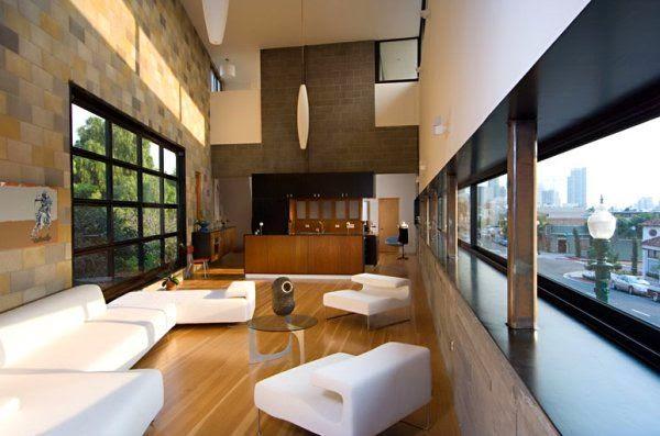 Diseño sala muebles blancos