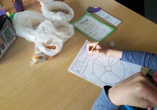 Uma aluna de Alcoitão a elaborar a sua roda dos alimentos