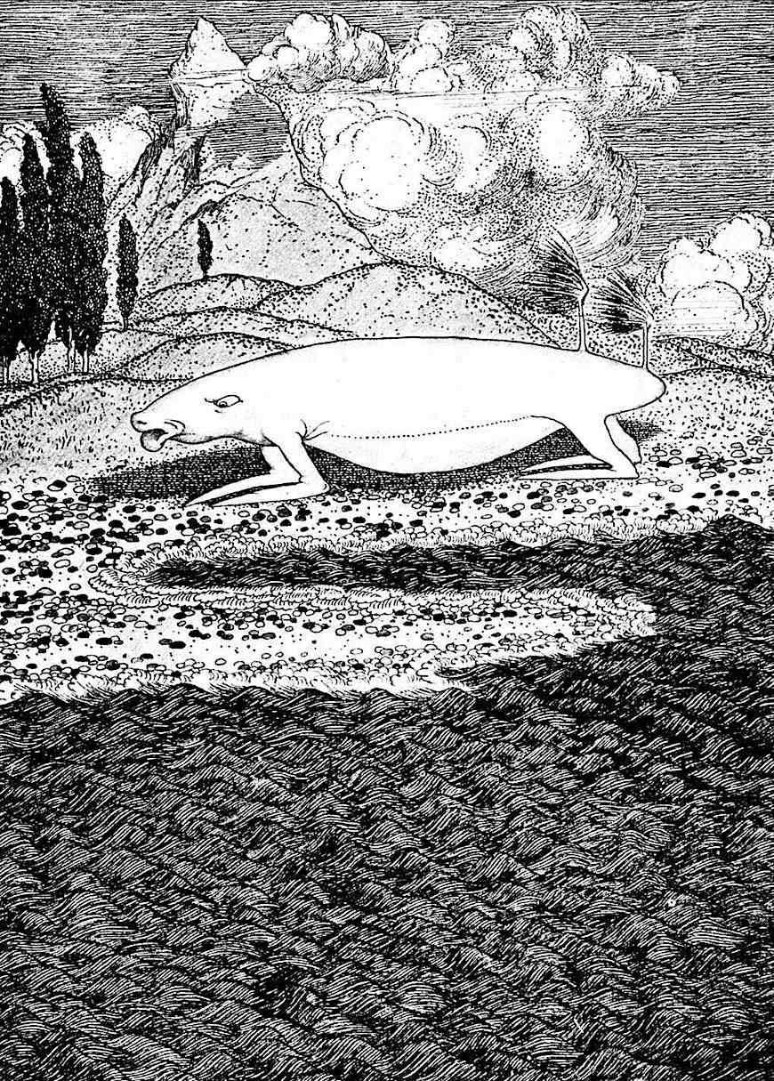 an illustration of a strange animal by Sidney Sime