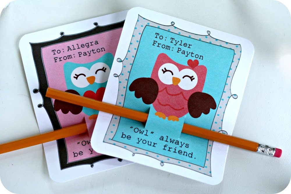 Pencil owl valentines