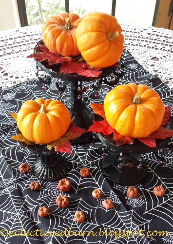 Eclectic Red Barn: Black painted candlesticks and pumpkins