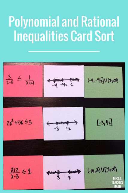 This card sort is a fun way for Algebra 2 or Pre-Calculus students to practice polynomial and rational inequalities.