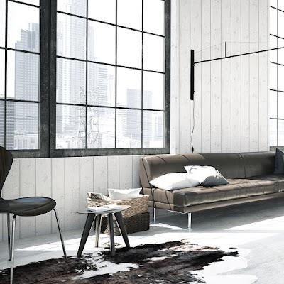 Interior moderno decorado con papel pintado de madera