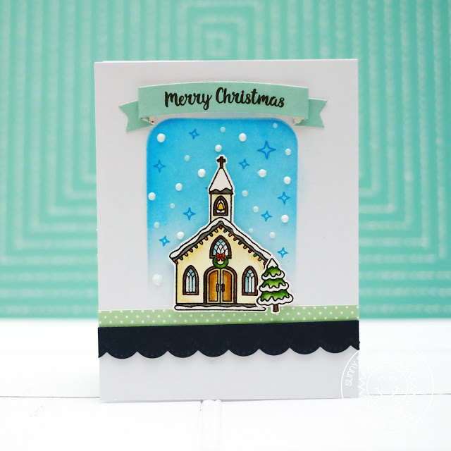 Sunny Studio Stamps: Christmas Chapel Elegant Navy Blue Mint Christmas Card by Lexa Levana