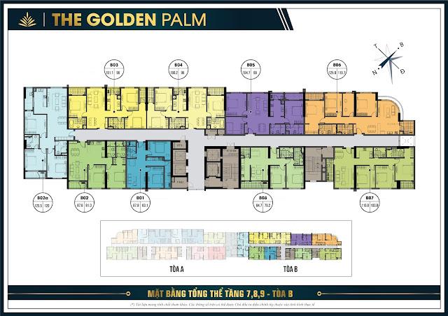Mặt bằng thiết kế tầng 7,8,9 tòa B chung cư The Golden Palm