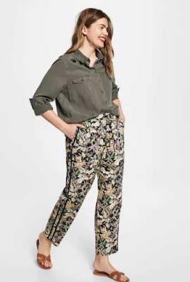 7b978ab0cb3d7 Çok bol, çok geniş kesimli pantolon demektir. İşte bu tip pantolonların  Mango 2018 büyük beden koleksiyonundaki örneklerinden biri: