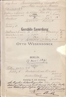 Otto Wesendonck: Katalog A mit Anhang, 1888, mit handschriftlichen Angaben zu Versicherungssummen