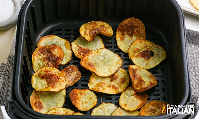 potato chips in an air fryer cooked