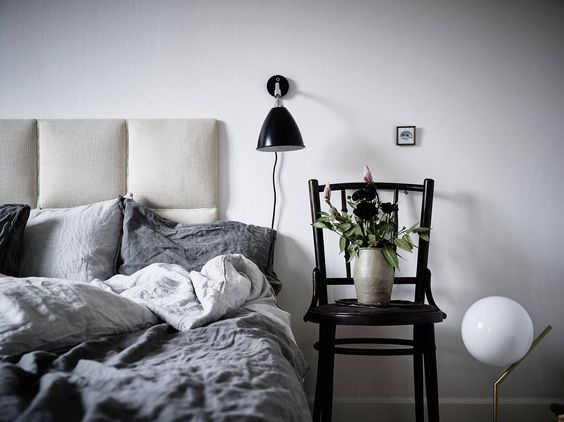skandynawska szafka nocna, skandynawska sypialnia
