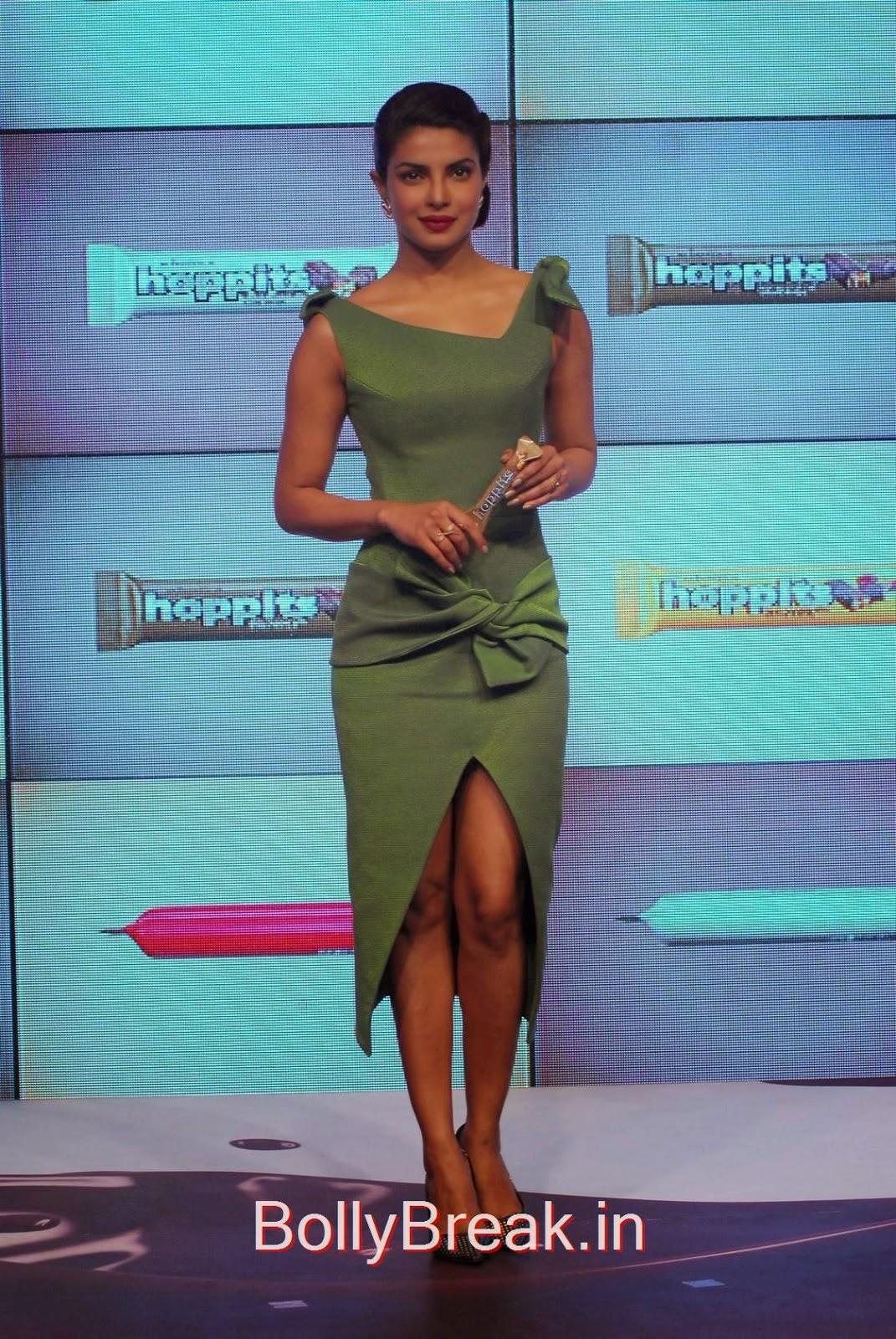 Bollywood Actress Priyanka Chopra, Priyanka Chopra Hot Pics in green dress from Hoppit Chocolate Launch