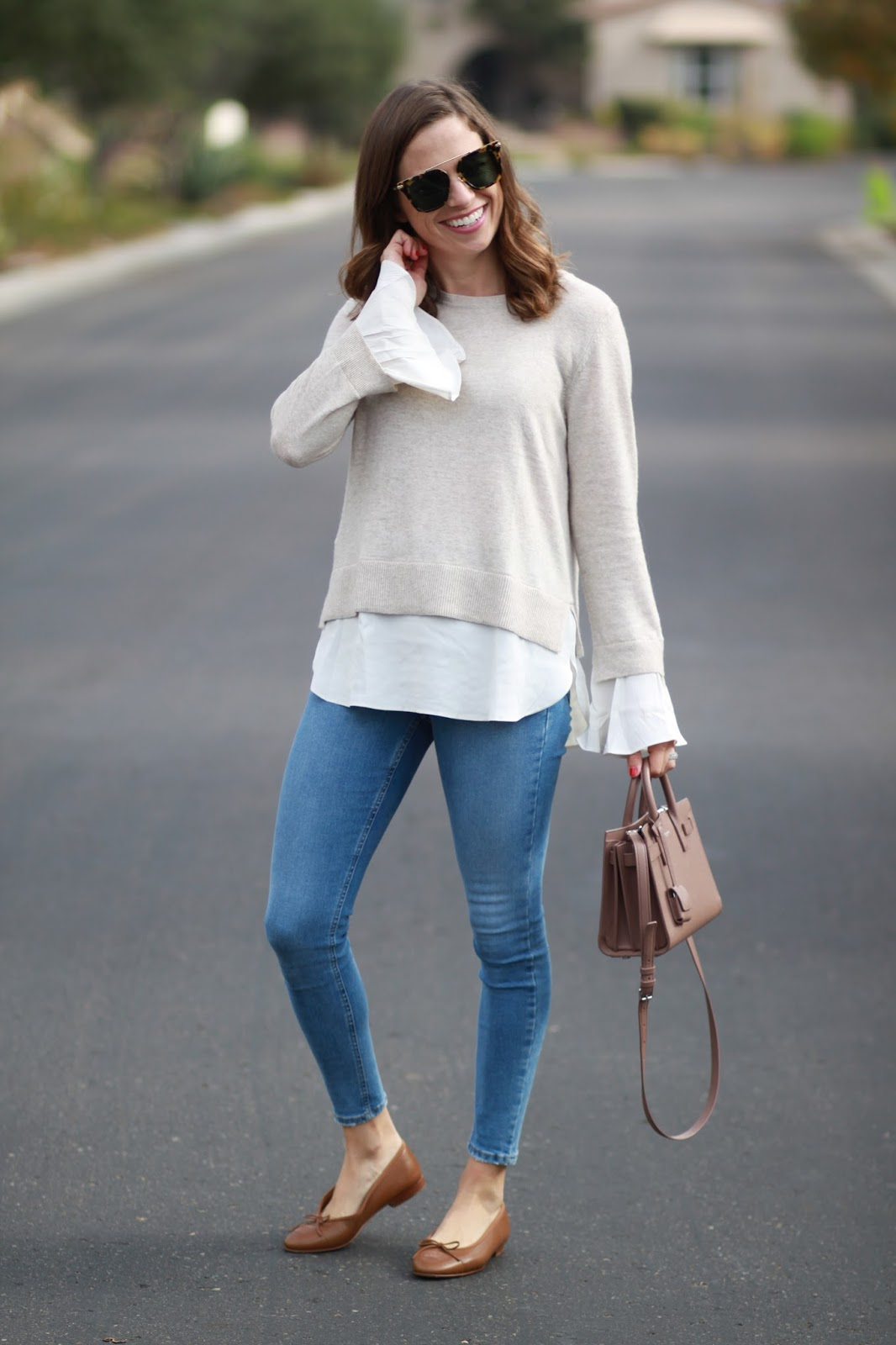 ruffle cuff top outfit