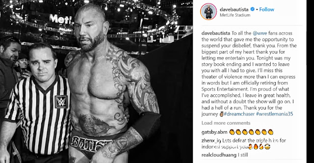 Batista officially announced his retirement from WWE!!