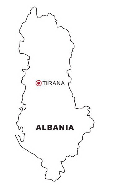 COLOREA TUS DIBUJOS: Mapa de Albania para colorear