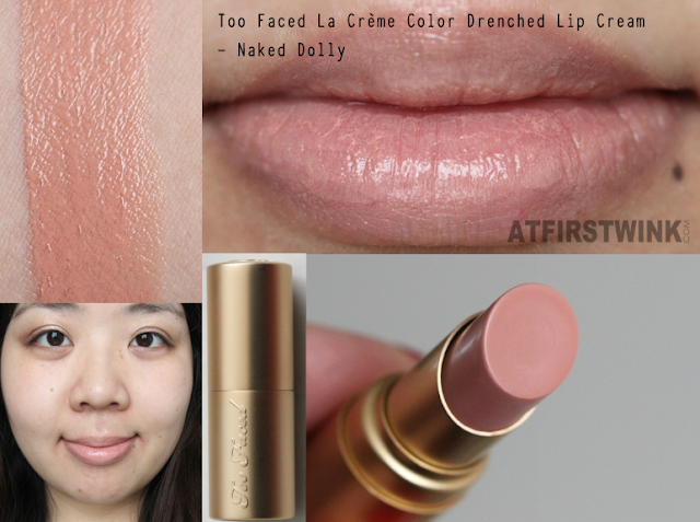 Review: Too Faced La Crème Color Drenched Lip Cream - Naked Dolly/Satin Pink (sample size)