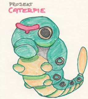 Pokemon Caterpie vlastní rukou.