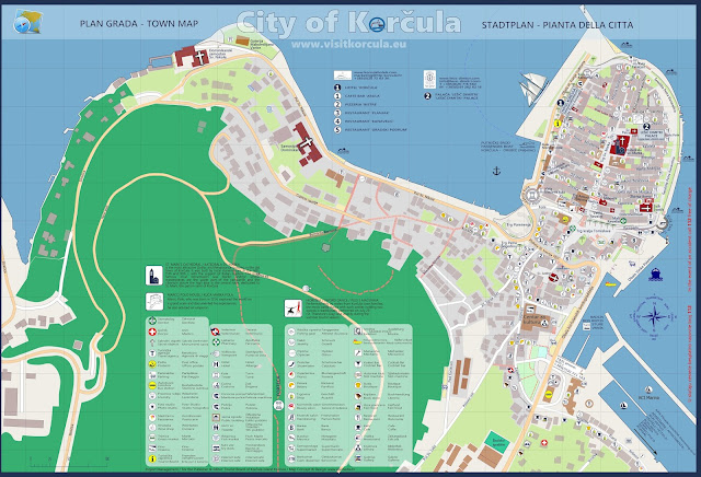 Mapa de Korcula - Croacia