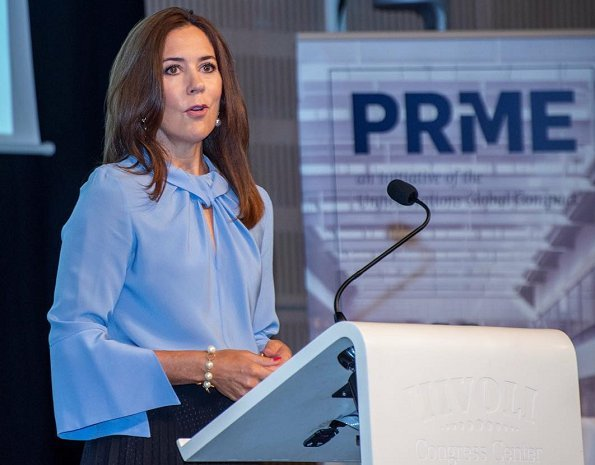Crown Princess Mary wore Victoria Beckham flare blouse and Valentino Rockstud patent leather pumps