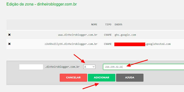 adicionando entrada tipo A registro BR blogger