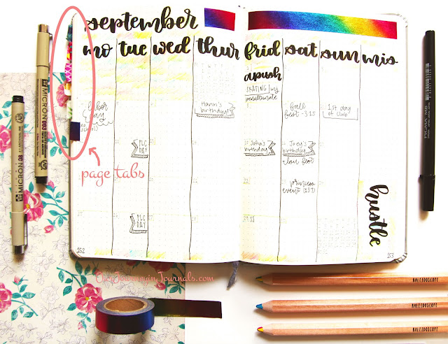 using washi tape to mark special pages in a bullet journal