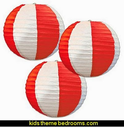 Stripes Paper Lanterns, 9 1/2-Inch, Red/White