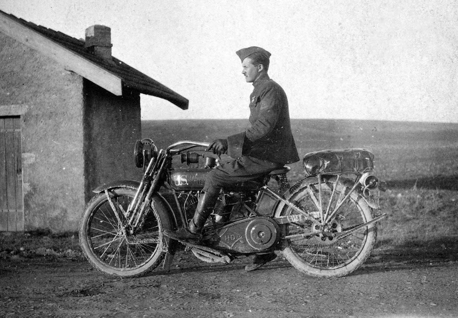 Soldier on a U.S. Harley-Davidson motorcycle, ca. 1918. During the last years of the war, the United States deployed more than 20,000 Indian and Harley-Davidson motorcycles overseas.