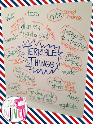 Use the mentor text, Terrible Things, to teach students how to be upstanders, combat bullying, and support and stand up for what is right and fair. Ideas By Jivey shares a free resource and ideas to teach with the book.