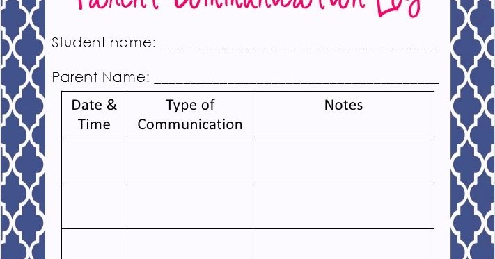 Parent Contact Log Template In Excel Excel Template