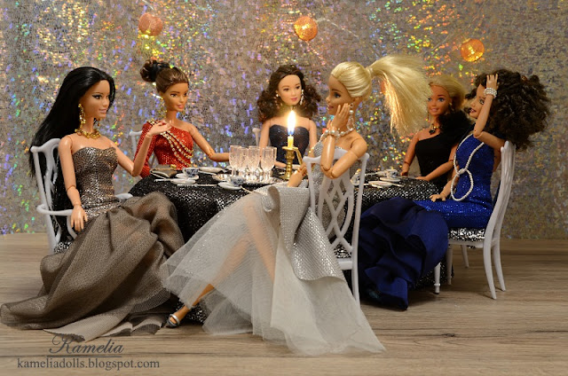 Long evening dresses for Barbie dolls.