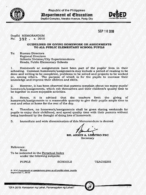 "In 2010, the Department of Education (DepEd) released a policy that restricts teachers to give their students homeworks on weekends to all public schools across the country.  Recently, a suggestion from parents came up that private schools b included in the ""no weekend homework policy"" by DepEd.    Advertisement        Sponsored Links                The DepEd memorandum no. 392 section 4 reads:  4. Therefore, no homework/assignment shall be given during weekends for pupils to enjoy their childhood, and spend quality time with their parents without being burdened by the thought of doing lots of homework.  Atty. Claire Castro said that only public elementary are directly under the memorandum but it is also possible to include private schools if they wish to.      DepEd said that the limited assignment policy brings a positive result to the students. DepEd Usec. Anne Sevilla said that education has to be holistic because the children also need time for self-care as a part of their personal development.     However, a group of private schools disagrees with it saying that it is more important that children have assignments during weekends.      READ MORE:  11 OFWs Illegaly Detained In A Room For 1 Week, Asking For Help Can A Family Of Five Survive With P10K Income In A Month?    DTI Offers P5K To P200K To Small Business Owners    How Filipinos Can Get Free Oman Visa?    Do You Know The Effects Of Too Much Bad News To Your Body?    Authorized Travel Agency To Process Temporary Visa Bound to South Korea    Who Can Skip Online Appointment And Use The DFA Courtesy Lane For Passport Processing?    P200-Subsidy To Minimum Wage Earners Nationwide— DOLE    80,000 Filipino Seafarers at the Brink Of Losing Jobs?    Complete List Of Contacts For OFWs In The UAE    Leptospirosis Awareness, Causes And Prevention    Visa-Free entry For Filipinos In Taiwan, Extended Until 2019"