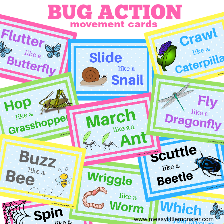 Bug action movement cards for kids. Keep toddlers and preschoolers active with these bug themed printable activity cards.