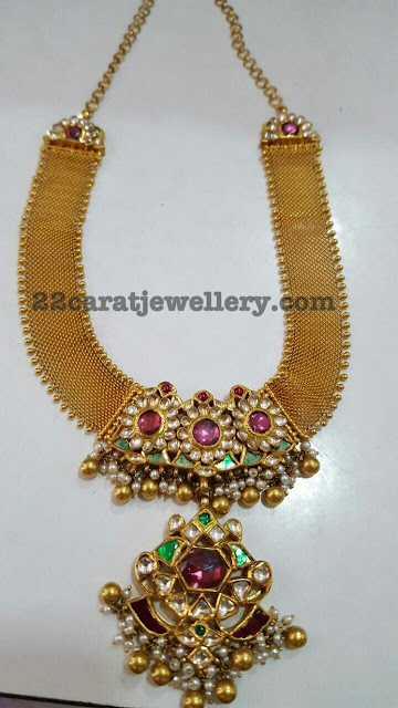 Broad Necklace with Kundan Locket