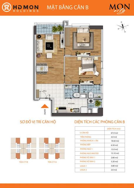 Căn hộ B diện tích 67m2 với thiết kế 02 phòng ngủ